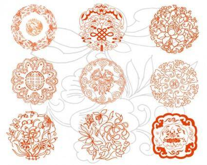 free vector Round auspicious patterns vector