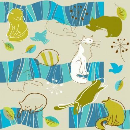 free vector Lovely lines issued cat pattern 03 vector