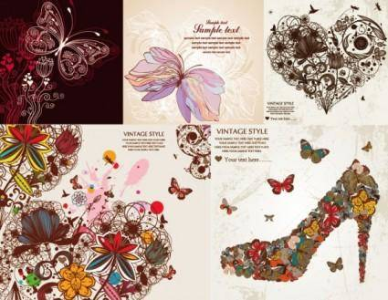 free vector Personality gorgeous butterfly pattern vector