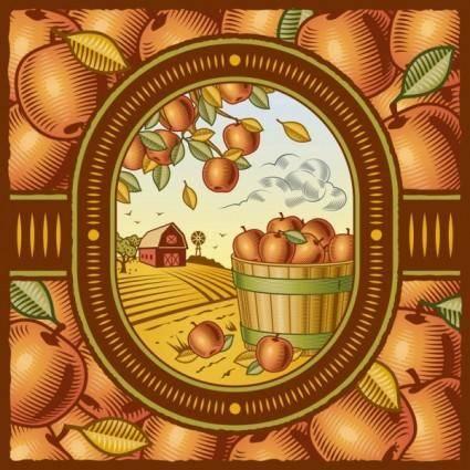 free vector Retro farm harvest 01 vector