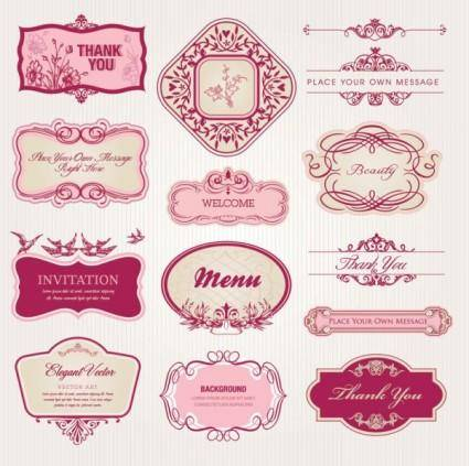 Exquisite europeanstyle pattern label 02 vector