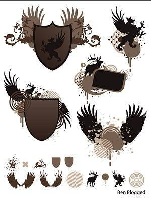 Shield wings europeanstyle pattern vector