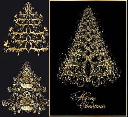 Classic europeanstyle christmas tree pattern vector