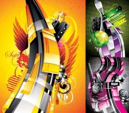 The trend of music posters pattern vector