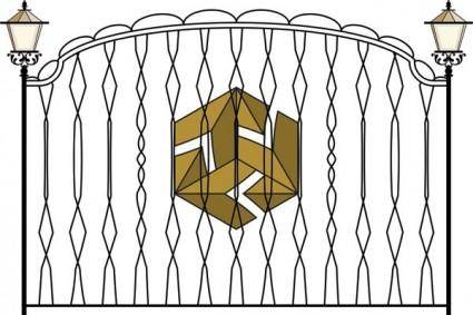 Europeantype pattern iron fence 03 vector