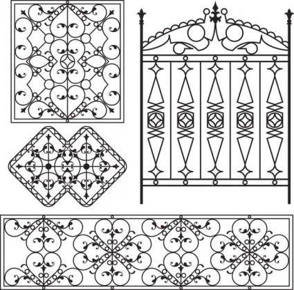 Europeantype pattern iron fence 05 vector