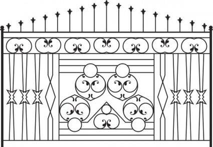 Europeantype pattern iron fence 02 vector