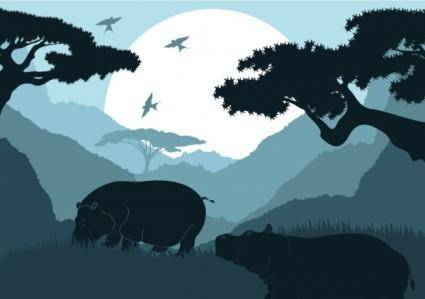 free vector Animal silhouette pattern 03 vector