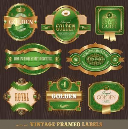 free vector Classic european pattern bottle label 02 vector