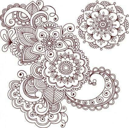 Handpainted pattern 01 vector