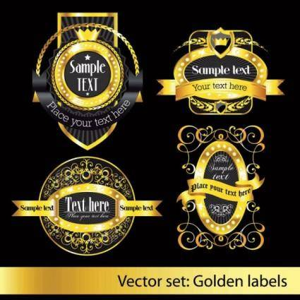 European classic pattern label 03 vector