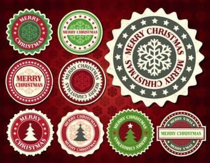 free vector Christmas snowflake pattern label 01 vector
