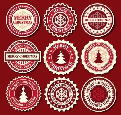 Christmas snowflake pattern label 02 vector