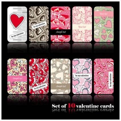 free vector Romantic heartshaped pattern card 02 vector