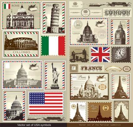 Italy france britain vector