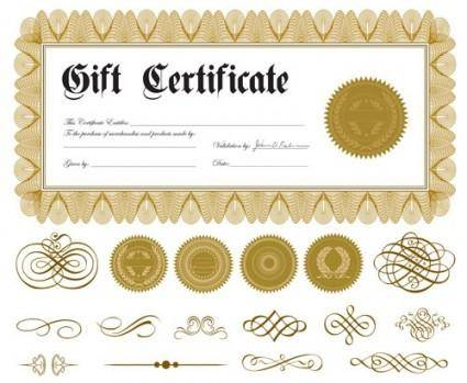free vector European pattern certificate 02 vector
