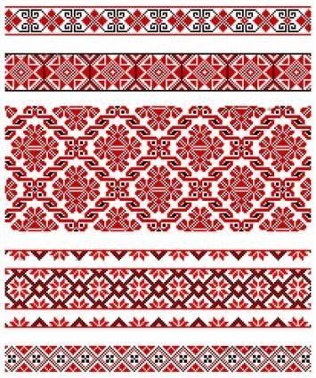 free vector Beautiful national dress patterns 02 vector