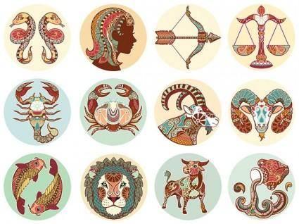 Retro zodiac pattern vector