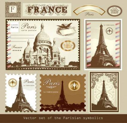 free vector Europeanstyle buildings stamps 01 vector