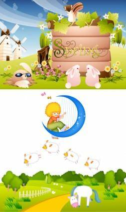 Cute cartoon pattern vector
