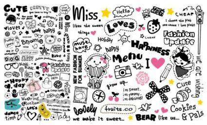 free vector Very cute patterns and word combinations vector