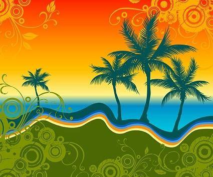 free vector Palm beach silhouette with trend pattern vector