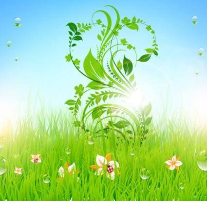 free vector Pattern of green grass 05 vector