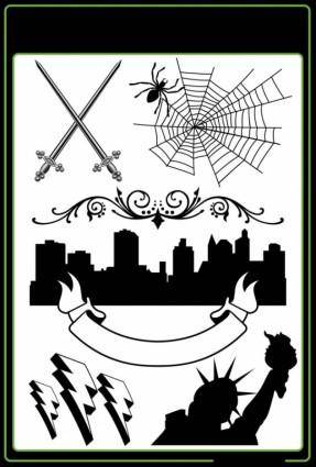 free vector Sword spiders urban silhouette lightning the statue of liberty and other pattern vector