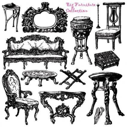 free vector Antique furniture handpainted pattern vector