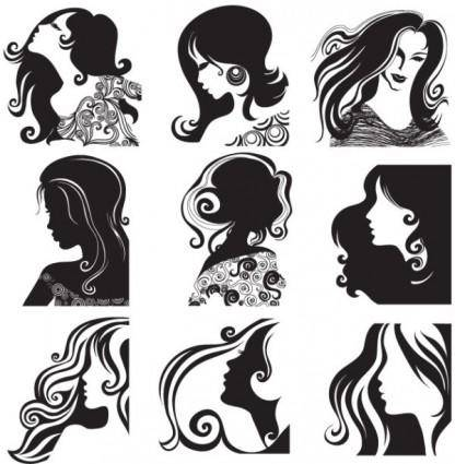free vector Female head pattern vector