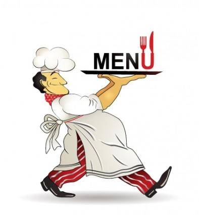 Restaurant menu chef pattern vector