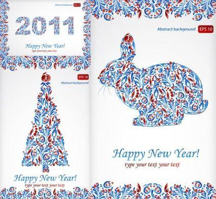Particular pattern and happy new year 2011 christmas vector