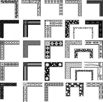 free vector Black and white pattern frame corners 03 vector
