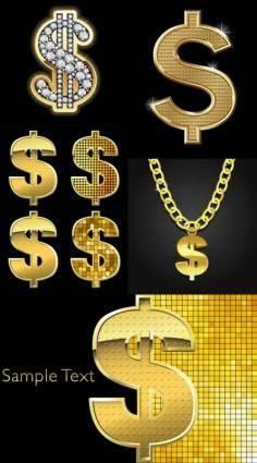 free vector Golden dollar sign vector