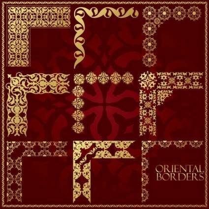 free vector Ornate traditional patterns border 01 vector