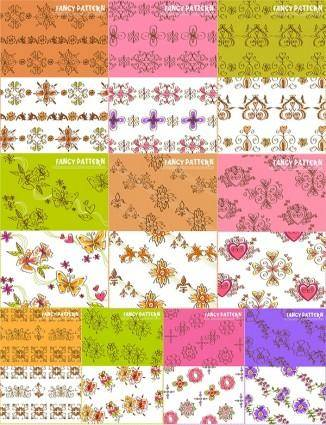 10 lovely handpainted pattern vector