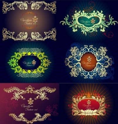 6 beautiful european border pattern vector