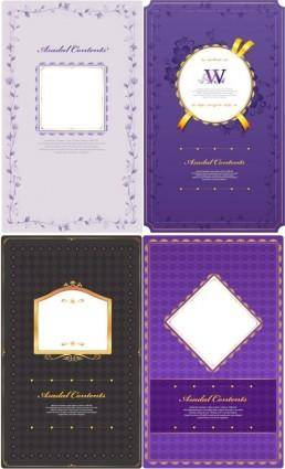 4 purple pattern card template vector
