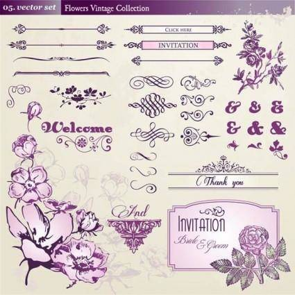 free vector European retro floral lace pattern vector 1