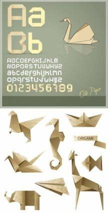 free vector Origami letter and graphics vector
