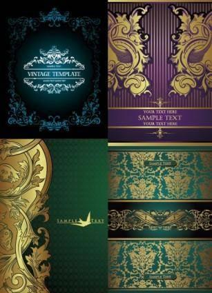 European gorgeous gold lace pattern vector