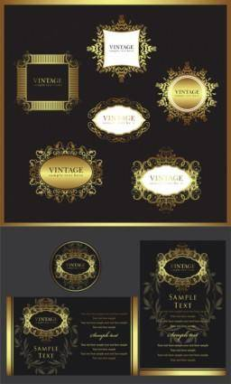 Europeanstyle gold frame pattern vector