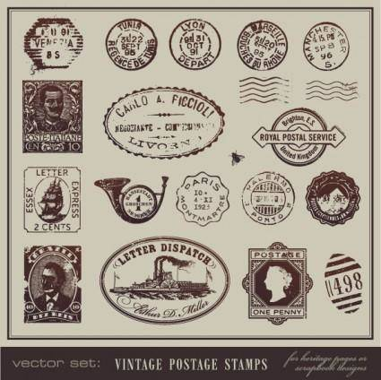 free vector Vintage postcards and postage stamps 01 vector