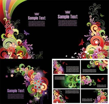 Colorful butterfly pattern card template vector