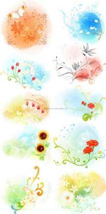 free vector Beautiful floral pattern vector series 3 series 10p