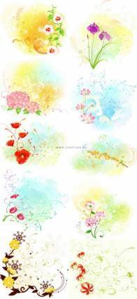 free vector Beautiful floral pattern vector series series 4 10p