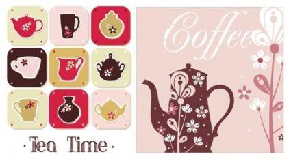 free vector Coffee pot pattern vector
