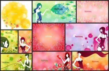 Festival festive female pattern vector 4 10p
