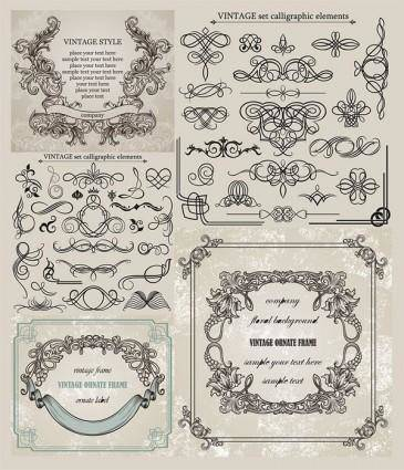 European classic lace pattern vector 23487