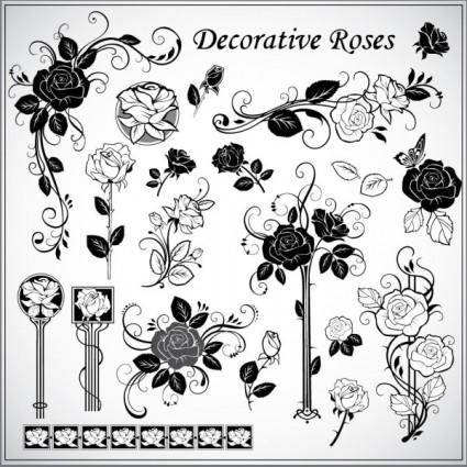 Decorative rose pattern 01 vector